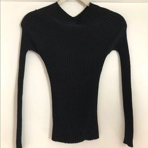 Tom Ford Gucci Black Wool Ribbed Sweater Top Small